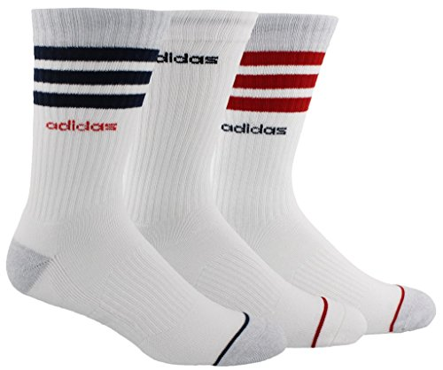 (adidas Men's 3-Stripe Crew Socks (3-Pack), White/Clear Onix Marl/Collegiate Navy/Scarlet, Size)