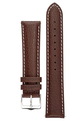 Brown Leather Hamilton (Signature Buffalo in coffee with white 21 mm watch band. Replacement watch strap. Genuine Leather. Silver buckle)