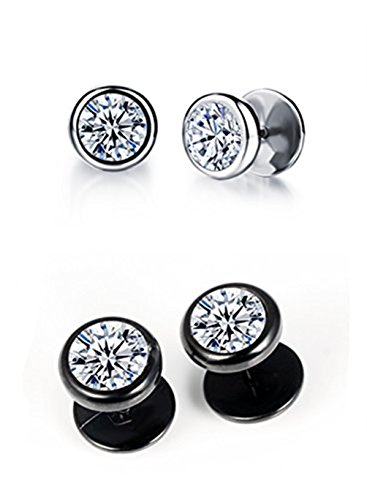 Curved Barbell Illusion Earrings (Unisex Plugs Piercings Stainless Steel Round Arrow Cubic Zirconia Illusion Tunnel Earrings Screw Back (2 pair of silver & black))