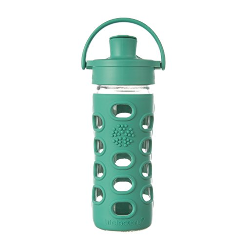 Lifefactory 12-Ounce BPA-Free Glass Water Bottle with Active Flip Cap and Silicone Sleeve, Kale (Tip Steel Stainless Oval)