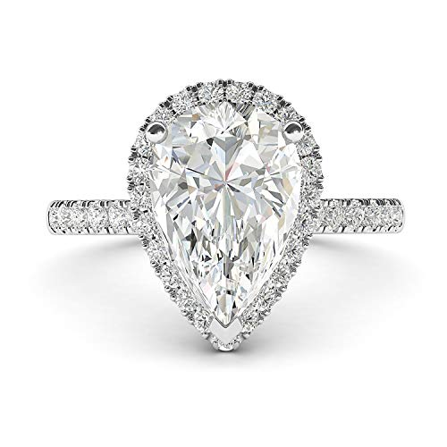 14k Simulated Diamond Engagement Ring - 14k White Gold Simulated Pear-Shaped Diamond Halo Engagement Ring with Side Stones Promise Bridal Ring (7)