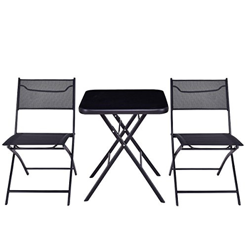 MyEasyShopping Outdoor Patio 3 Pieces Folding Square Table And Chair Suit Set by MyEasyShopping