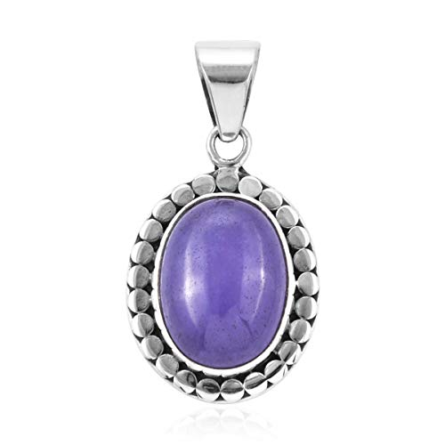 Halo Pendant 925 Sterling Silver Oval Purple Jade Jewelry for Women - Purple Jade Pendant