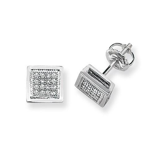 Diamant carré Boucles d'oreilles clous Femme-Or blanc 9Ct SI2-I10,13ct