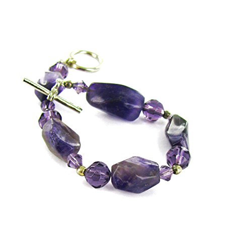 Linpeng Amethyst & Faceted Crystal Stone Beads Toggle Bracelet, Amethyst