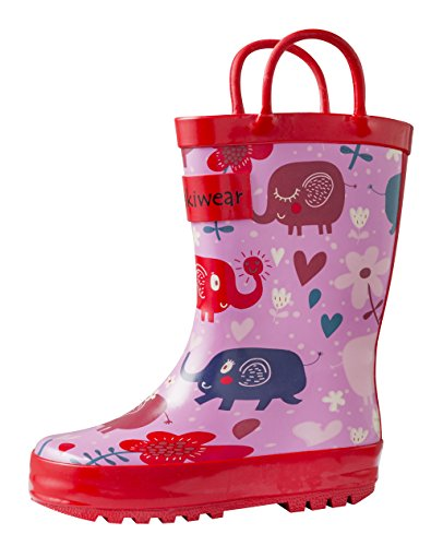 OAKI Kids Rubber Rain Boots Easy-on Handles, Pink Elephants, 10T US -