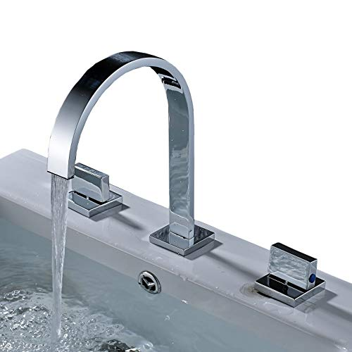 Rozin Two Handles Bath Mixer Taps Widespread Waterfall Bathroom Sink Faucet or Bath Tub Faucet Chrome Unique Designer Vanity Cooper Plumbing Fixtures Roman Tub Faucets Glacier Bay Faucets