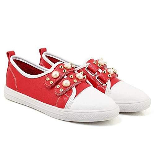 ZHZNVX PU Verano con White Punta Cerrada Deporte Mujer Negro Rojo Primavera Zapatos Zapatillas Poliuretano de Blanco tacón Plano de tCwrgzqC