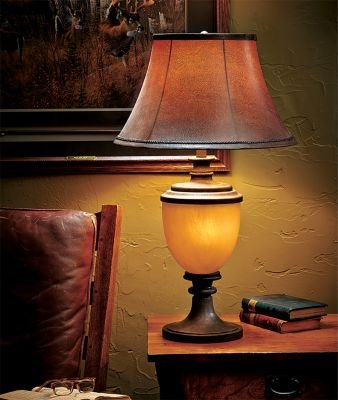 Alberta Antique Bronze Wood Urn Table Lamp with Nightlight