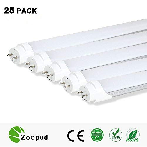 zoopod T8 LED Tube Light, 6500K Cool White,3000K Warm White, Frosted Cover (25Pcs, 3000~3500K) 4ft 18W (32w Fluorescent Replacement) 25-pack 10-pack - T8 Warm White Fluorescent Bulb