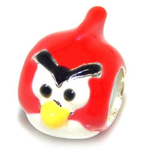 Pro Jewelry 925 Solid Sterling Silver Red and White Angry Bird Charm Bead
