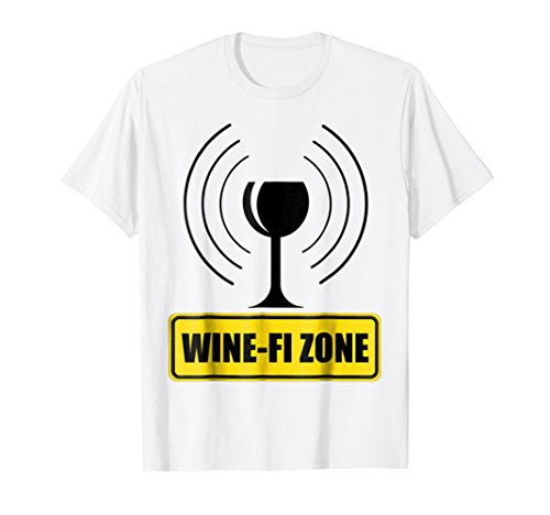 Wine-Fi Zone Yellow Caution Sign Funny Wine Glass WiFi Waves T-Shirt