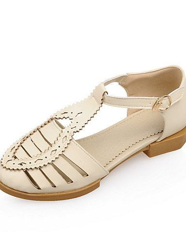 ShangYi Women's Shoes Leatherette Low Heel Round Toe Sandals Casual Blue / Yellow / Green / Pink / Beige Pink tNxryph
