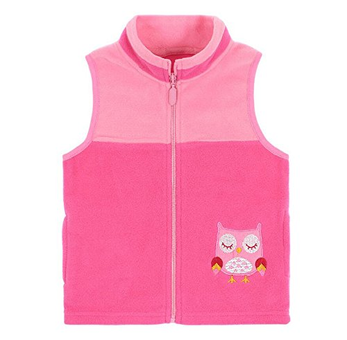 HUAER& Baby Boys and Girls' Zip Front Embroidery Pattern Woollen Jacket Vest (18months-2T(height75-85cm/29.5-33.15inch), Pink) by HUAER&
