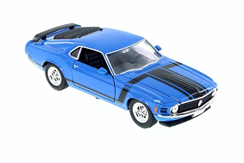 Welly 1970 Ford Mustang Boss 302, Blue w/ Black 22088WBU - 1/24 Scale Diecast Model Toy Car ()
