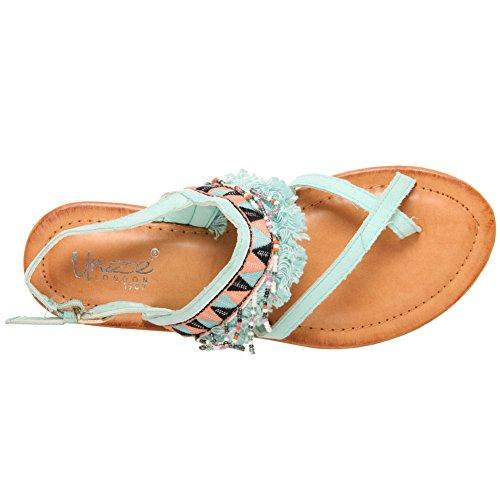 Unze Women Leon Sling Back Daily Wear Toe-Ring Festival Sling-Back Beach Slip On Casual Tassel School Embroided Sandals UK Size 3-8 Sky Blue Rzp1lSE6w