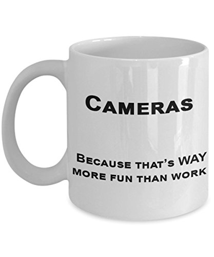 Photographer Themed Mugs, Camera Collecting - Cameras are More Fun Than Work - Work Sucks Mug, Amateur Photographer Gifts (Best Camera For Novice Photographer)