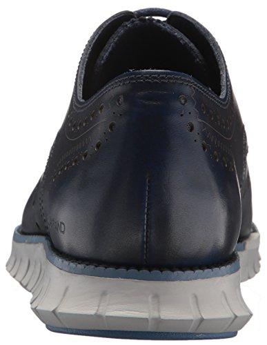 Cole Haan Mens Zerogrand Vinge Oxläder Oxford Marinblå Läder / Ånga Grå