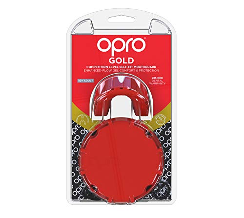 OPRO Gen 4 Mouth Guard Gold Level Braces Red Pearl Gum Shield Boxing Rugby MMA