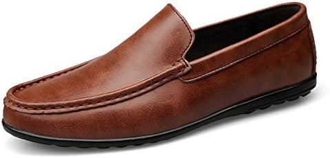 You Are Fashion ファッションカジュアルメンズローファー高品質金属装飾アップリケ本物の本革の靴男フラットシューズアンチスキッド通気性に合わせやすいビジネスボートモカシン (Color : 褐色, サイズ : 26 CM)