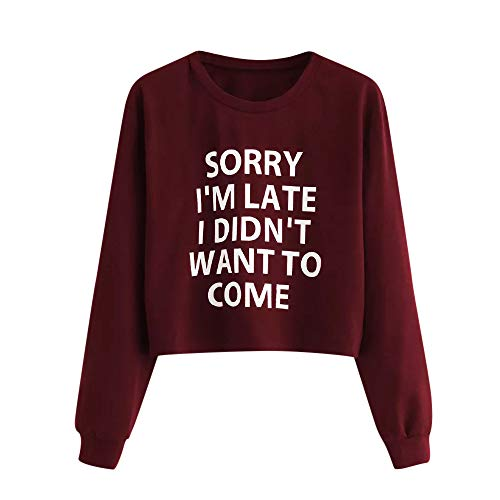 Sweatshirts for Women, Seaintheson Women's Sweatshirt Letter Print Long Sleeve Crop Top Lightweight Pullover Blouse Red
