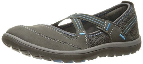 Clarks Women's Aria Maryjane Mary Jane Flat, Dark Grey Nubuck, 7 M US