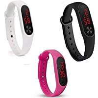 Shine Enterprise Silicone Slim Digital Led Black, Red Dial Boy's and Girl's Bracelet Band Watch-Combo Set of 3 Watch