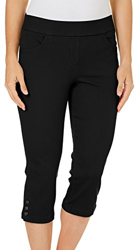 Coral Bay Womens Pull-On Stretch Capris 10 - Coral Black