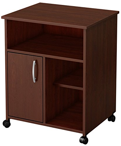 South Shore Fiesta Microwave Cart with Storage on Wheels, Royal Cherry by South Shore