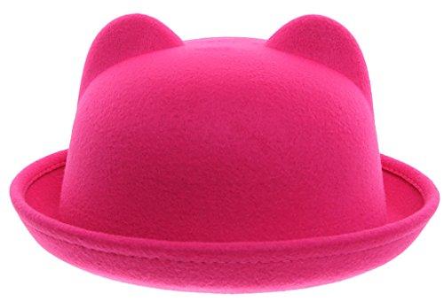 6f53afe5cec EOZY Women Wool Felt Cat Ear Roll-up Hat Fedora Bowler Head ...