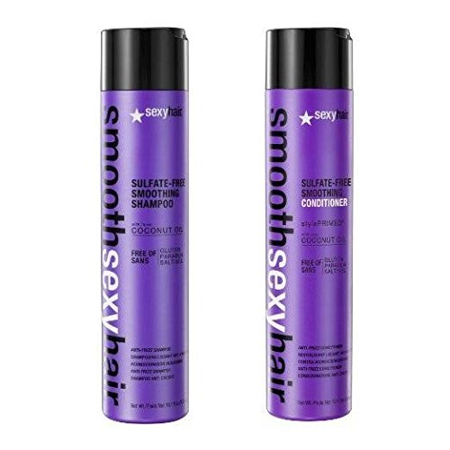 Smooth Sexy Hair Sulfate-Free Smoothing Shampoo and Conditioner - 10.1 Ounce - Anti Frizz Hair Products - Hair Smoothing Shampoo and Conditioner with Hair Protectant Coconut Oil Hair Formula by Sexy Hair