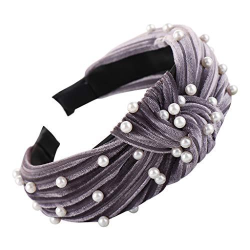 - Sunday88 Vintage Twisted Faux Pearl Tie Beading Women Wide Hair Hoop Velvet Headband (Free Size, Purple)