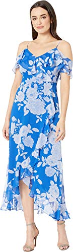 London Times Women's Ruffle Could Shoulder & Hem Maxi Blue/White 10