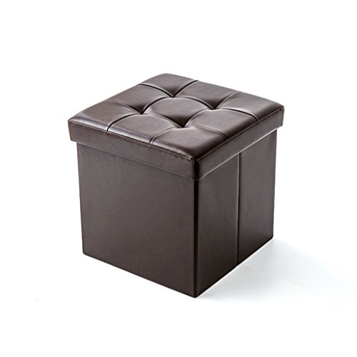 ZLZDZ Stool with Cover Square Storage Padded Footstool PU Leather seat Black Available Living Room Corridor ()