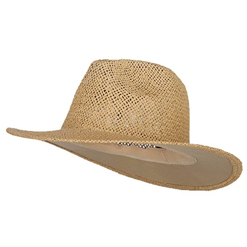 [Safari Straw Hats - Natural No Band OSFM] (Straw Safari Hat)