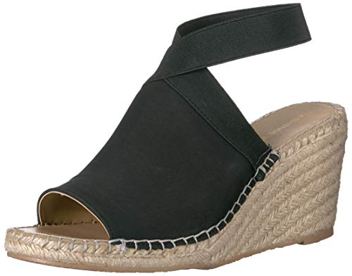ADRIENNE VITTADINI Footwear Women's Calla Espadrille Wedge Sandal, Black, 8 M US (Adrienne Vittadini Wedge Shoes)