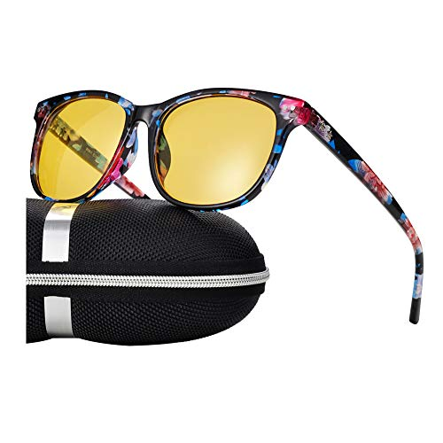 Night Vision Driving Glasses Polarized Anti-glare Clear Sun Glasses Men & Women Fashion(Floral)