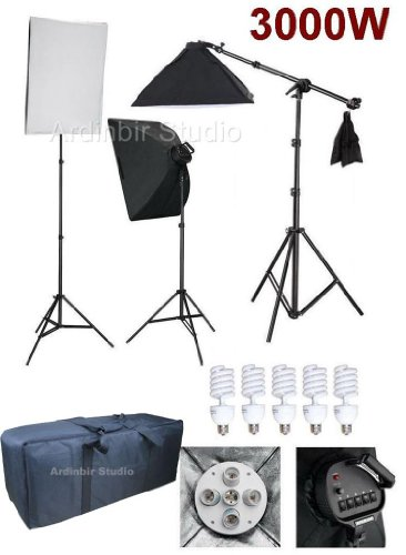Ardinbir Photo Studio 3000W Continuous Cool Fluorescent 5400K Day Light Boom Softbox Diffuser Stand Kit with Lights, Sockets, Stands and Carrying Case by Ardinbir Studio