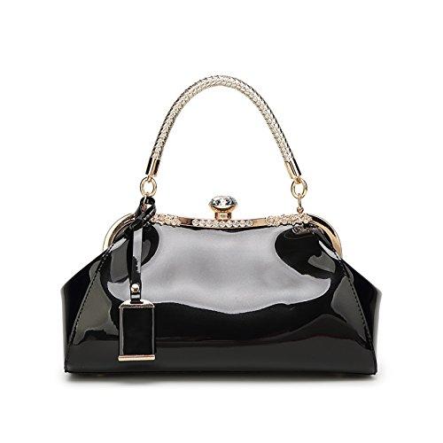 Shoulder Fashion Women's New Leather Black Bag Handbag Patent Simple Messenger Diamond Tisdaini Owq6Z48q
