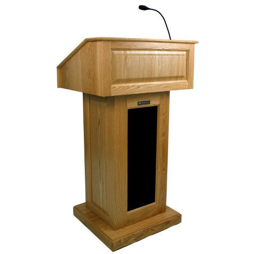 Amplivox Sound Systems SW3025 Wireless Victoria Tabletop Lectern with Electret Gooseneck Mic 23.5