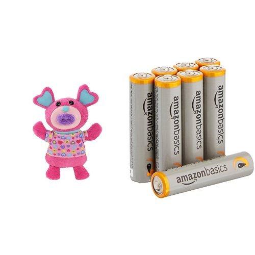 Singamaling Blush Plush Sings ''Mary Had A Little Lamb'' Plush, pink with Amazon Basics AAA Batteries Bundle
