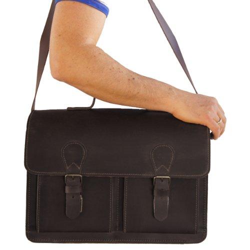 Aktentasche FREIHERR VON MALTZAHN aus Leder für Laptop, zwei Ordner und mehr, Made in Germany, GRATIS Lederpflege