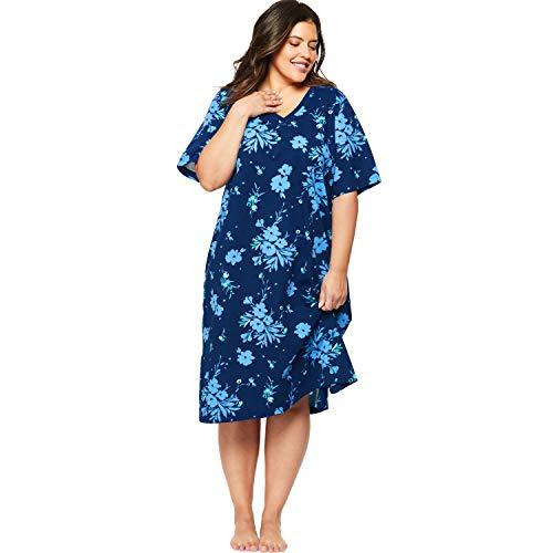 - Dreams & Co. Women's Plus Size Print Sleepshirt - Evening Blue Flower, 1X/2X
