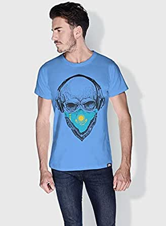 Creo Kazakhstan Skull T-Shirts For Men - S, Blue