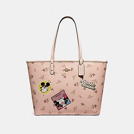 COACH REVERSIBLE CITY ZIP TOTE WITH FLORAL MIX PRINT AND MINNIE MOUSE PATCHES F29359, VINTAGE PINK MULTI/LIGHT GOLD