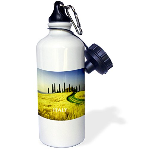 3dRose wb_80679_1 ''Beautiful Hills Of Tuscany Italy'' Sports Water Bottle, 21 oz, White by 3dRose
