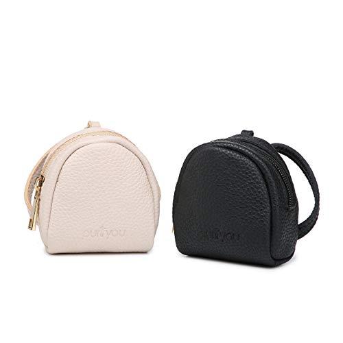 fier/Nipple Shield Case | Water-Proof Nylon Inside, Fits 2 Pacifiers or Breastshields: Avent, MAM, Nuk, Medela | Holder, Box, Cover w/Clip (Set of 2, Black & Beige) ()