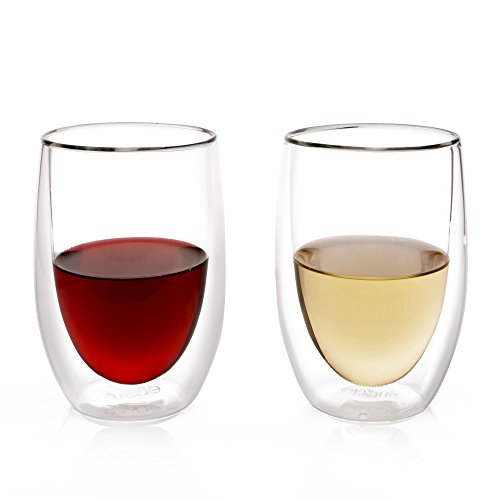 Eparé Wine Glasses - Set of 2 - Insulated Double-Walled Glassware - Stemless Drinking Glass - Red & White Wine ()