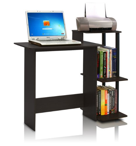 Furinno 11192EX/BK Efficient Computer Desk, Espresso/Black - Desk And Chair Set