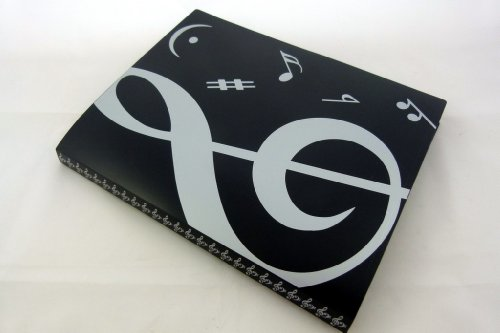 Display Softcover Book (Music Themed 20 Pockets Plastic Folder Display Book Soft Cover - Black Cover White Treble Clef Design)